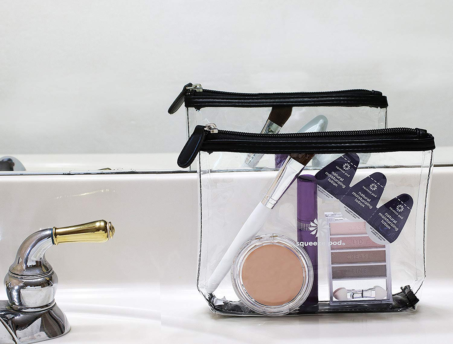Toiletry bag sitting next to a sink