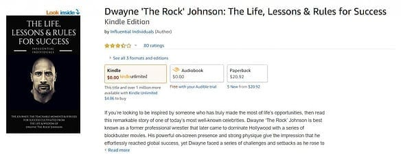 Example of ebook in Kindle Unlimited