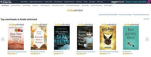 Kindle Unlimited front page