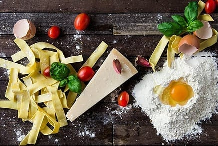 Pasta, cheese, tomatoes, flour, egg, basil