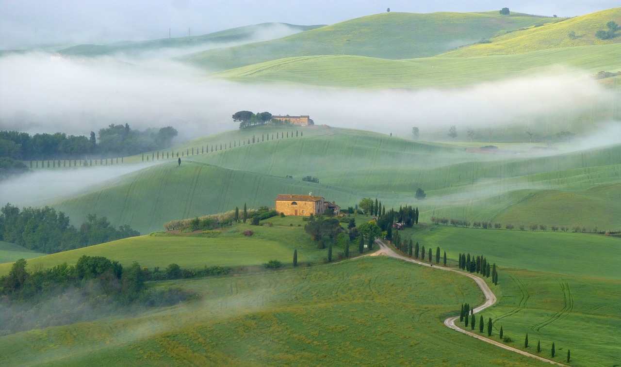 View over hills of Val d'Orcia