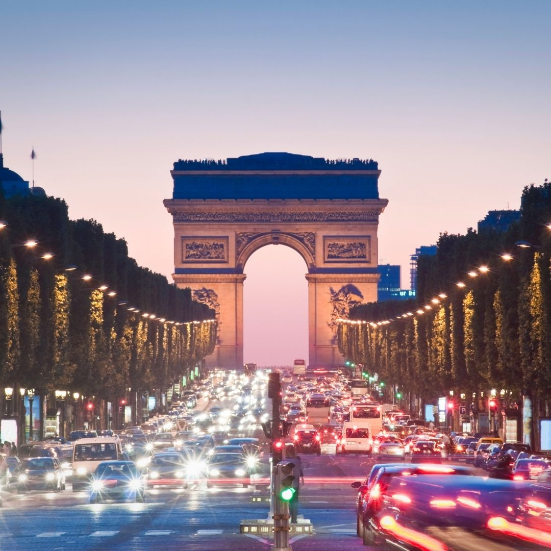 View of the road leading to the Arc de Triomphe in Paris