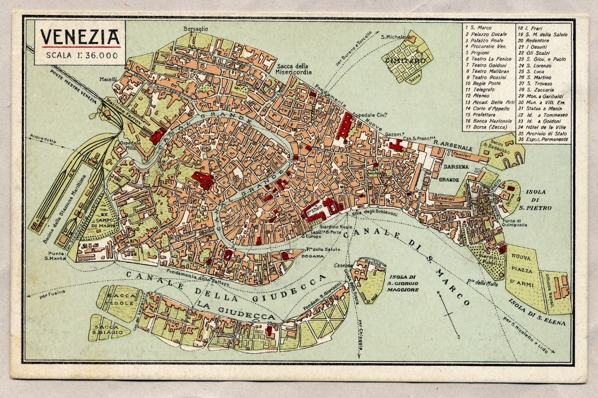 Vintage map of Venezia
